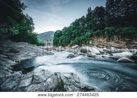 Incredible and stormy Prut river. Location place Carpathian mountains, Jaremcze resort, Ukraine, Europe. Scenic image of the exotic summer scene. Natural landscape view. Discover the beauty of earth.