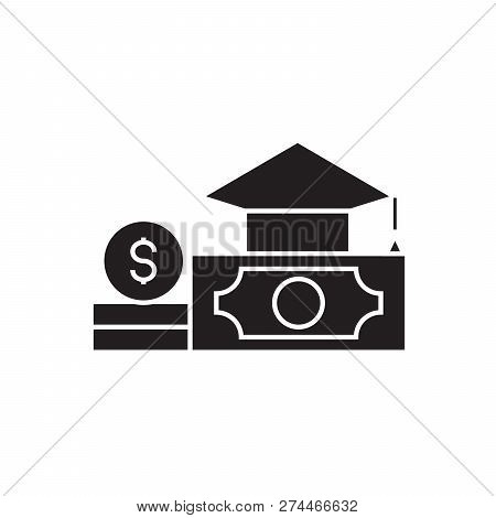 Paid Tuition Black Vector Concept Icon. Paid Tuition Flat Illustration, Sign