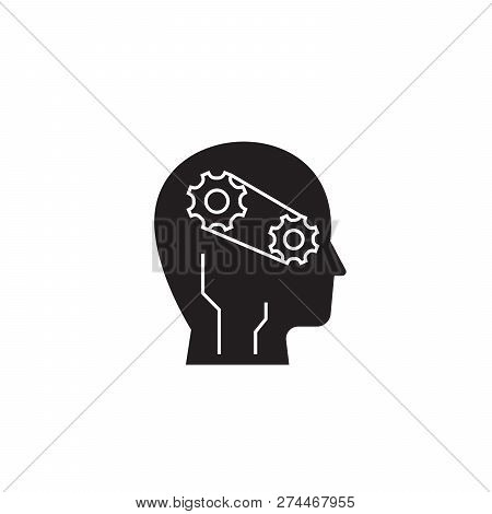 Progress Intelligence Black Vector Concept Icon. Progress Intelligence Flat Illustration, Sign