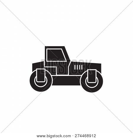 Road Roller Black Vector Concept Icon. Road Roller Flat Illustration, Sign