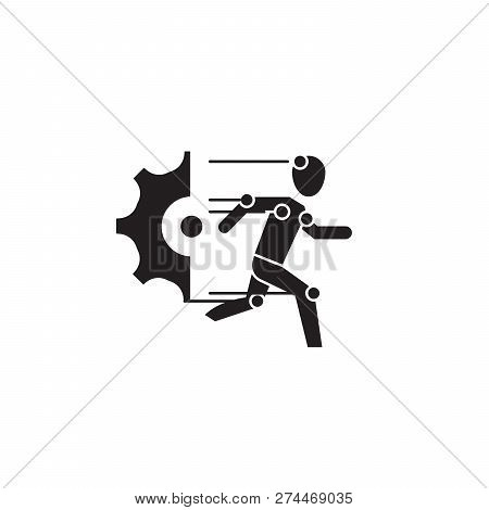 Robot Technical Units Black Vector Concept Icon. Robot Technical Units Flat Illustration, Sign