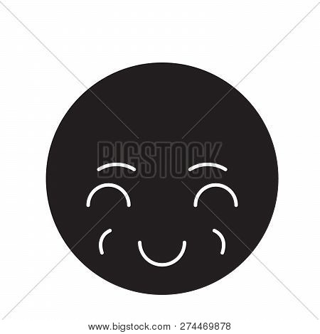 Sly Emoji Black Vector Concept Icon. Sly Emoji Flat Illustration, Sign