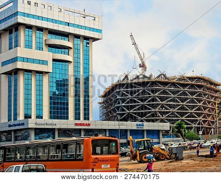 Accra. Ghana -january 9, 2014: Construction, Building Frame, Scaffolding, New Shopping Mall. Develop