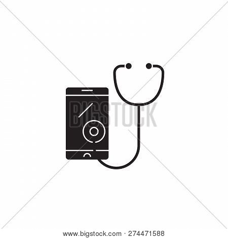 Telemedicine Black Vector Concept Icon. Telemedicine Flat Illustration, Sign