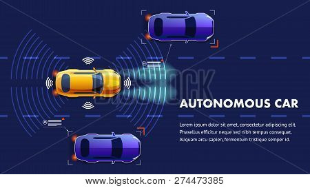 Autonomus Car Vector Illustration. Future Smart Sensing System With Wifi Communication Between Vehic