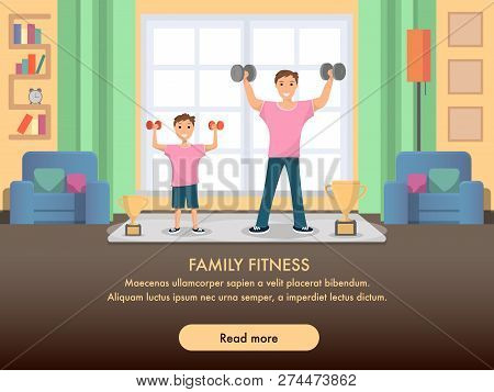 Happy Father And Son Standing Training Home Sport. Banner Image Smiling Man And Child Do Sport. Rais