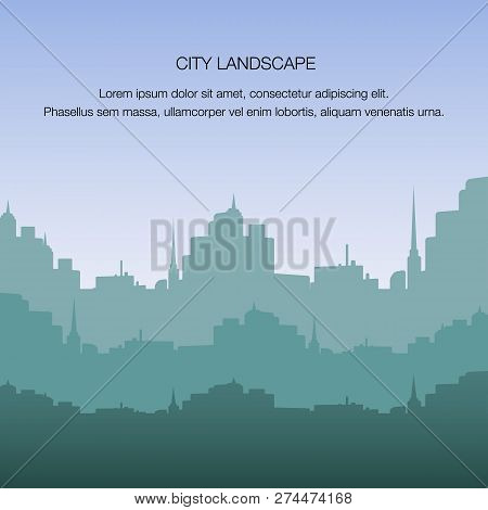 View City Landscape Silhouette Building Metropolis. Banner Panorama Big City Sunrise. Life In Modern