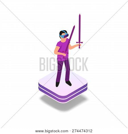 Isometric Gaming Experience In Virtual Reality. Vector Illustration Guy Playing Video Game Using Vir