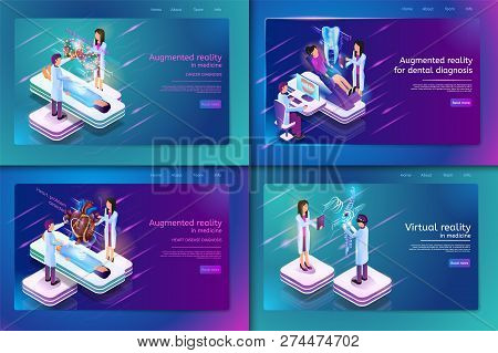 Set Banner Isometric Medical Treatment For Patient. Vector Illustration Augmented Reality In Madicin