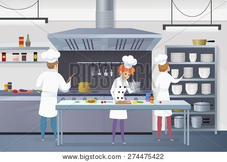 Culinary Concept Illustration Restaurant Business. Vector Illustration Cartoon Groups Cooks Working