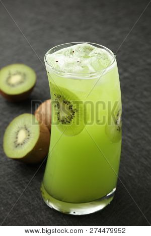 A Cup Of Iced Fresh Kiwi Tea
