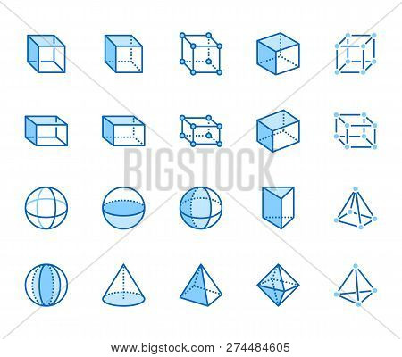 Geometric Shapes Flat Line Icons Set. Abstract Figures - Cube, Sphere, Cone, Prism Vector Illustrati
