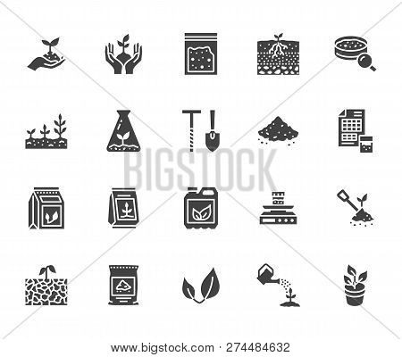 Soil Testing Flat Glyph Icons Set. Agriculture, Planting Vector Illustrations, Hands Holding Ground