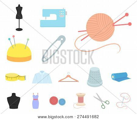 Atelier and sewing cartoon icons in set collection for design. Equipment and tools for sewing vector symbol stock web illustration. poster