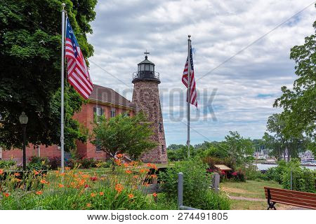 Charlotte Genesee Lighthouse, Lake Ontario In Rochester, Usa