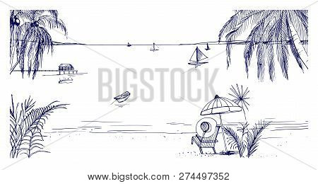 Hand Drawn Seaside Landscape. Tropical Resort With Deck Chair And Umbrella, Sand Beach, Exotic Palm