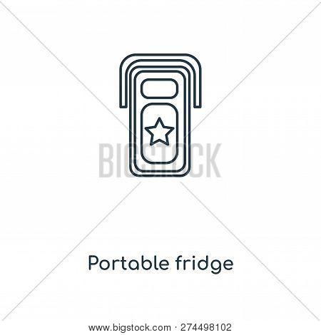 Portable Fridge Icon In Trendy Design Style. Portable Fridge Icon Isolated On White Background. Port