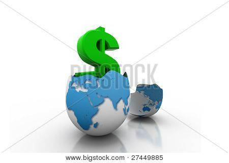Dollar symbol in egg broken shell
