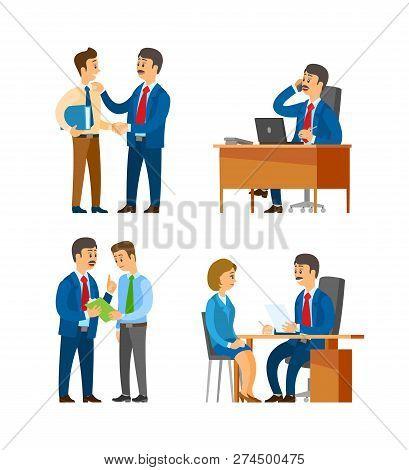Boss Praising Office Worker, Director On Interview Vector. Recruitment Of New Personnel, Hr Manageme