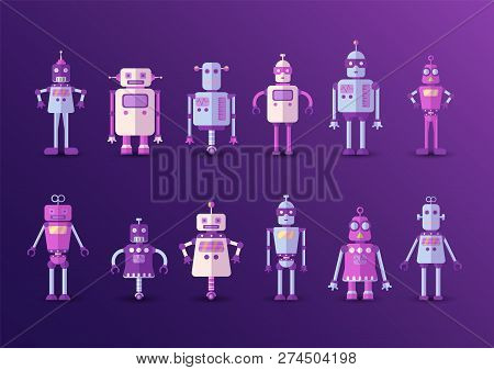 Retro Vintage Funny Vector Robot Set Icon In Flat Style Isolated On Violet Background. Vintage Illus