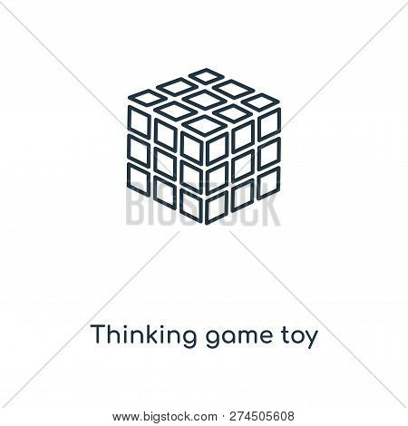 Thinking Game Toy Icon In Trendy Design Style. Thinking Game Toy Icon Isolated On White Background.