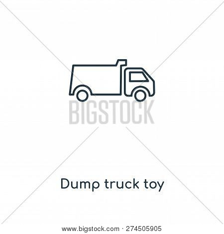 Dump Truck Toy Icon In Trendy Design Style. Dump Truck Toy Icon Isolated On White Background. Dump T