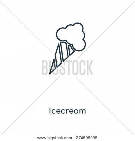 Icecream Icon In Trendy Design Style. Icecream Icon Isolated On White Background. Icecream Vector Ic