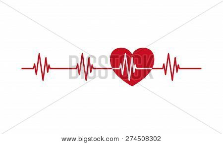 Heartbeat Pulse Line With Heart Icon. Heartbeat Ecg Red Vector Symbol.