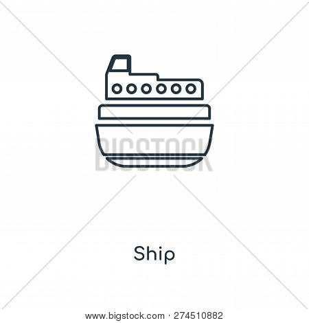 Ship Icon In Trendy Design Style. Ship Icon Isolated On White Background. Ship Vector Icon Simple An