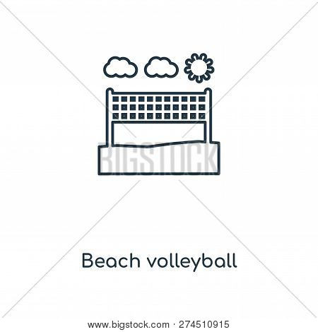 Beach Volleyball Icon In Trendy Design Style. Beach Volleyball Icon Isolated On White Background. Be