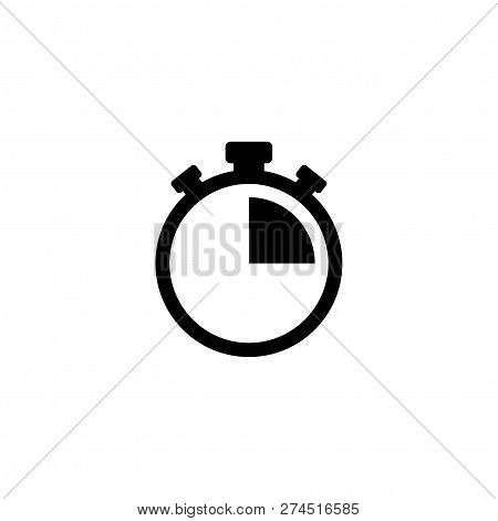 Black Stopwatch With 15 Minutes. Flat Icon Isolated On White. Fast Time Stop Watch