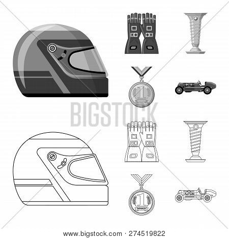 Vector Design Of Car And Rally Symbol. Set Of Car And Race Stock Symbol For Web.