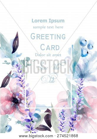 Pink And Purple Flowers Watercolor Card Vector. Lavender, Roses Delicate Floral Blooming Decor. Invi