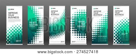 Industrial Roll Up Banners Design Templates Set. Vertical Banner For Event With Halftone Effect Vect