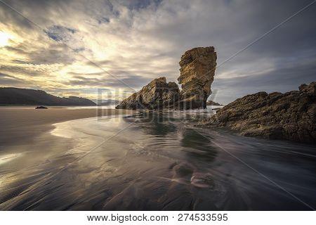 Playa De Bayas In Asturias, North Of Spain