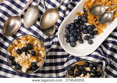 Cranachan, A Very Traditional Scottish Dessert With Blueberries, Double Cream, Lightly Roasted Oatme