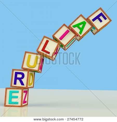 Blocks Spelling Failure Falling Over As Symbol For Rejection And Malfunction