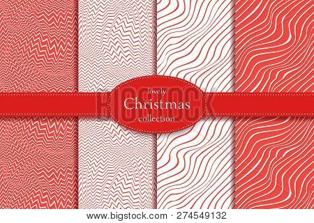 Collection Of 4 Elegant Seamless Lines. Valentines Day Or Christmass Pattern With Heart. Christmass
