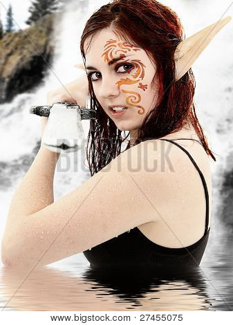 Live action role play character in costume in lake dressed as fantasy warrior elf. poster