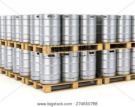 Group Of Metal Beer Kegs Stacked On Pallet