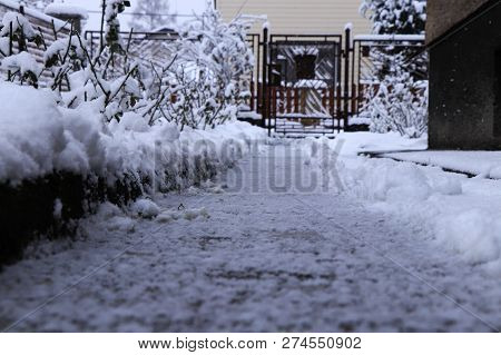 Attempt To Clean Path In Snow Days. Without Success. Still Snowing And Snowing. Routine Work. Snow P