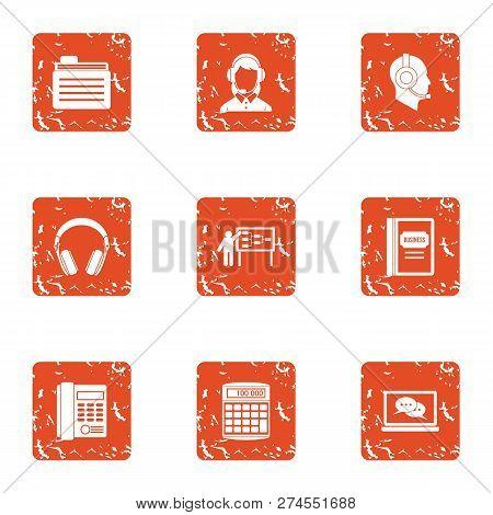 Seminar Icons Set. Grunge Set Of 9 Seminar Icons For Web Isolated On White Background