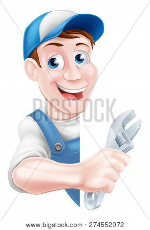 Cartoon Plumber Or Auto Repair Mechanic Service Handyman Worker Man Holding A Spanner And Peeking Ro