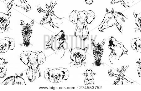 Hand Drawn Vector Abstract Artistic Ink Textured Graphic Sketch Drawing Illustrations Seamless Patte