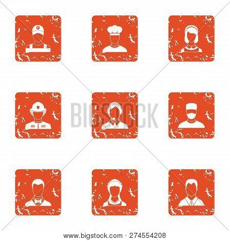 Shoulder Icons Set. Grunge Set Of 9 Shoulder Icons For Web Isolated On White Background