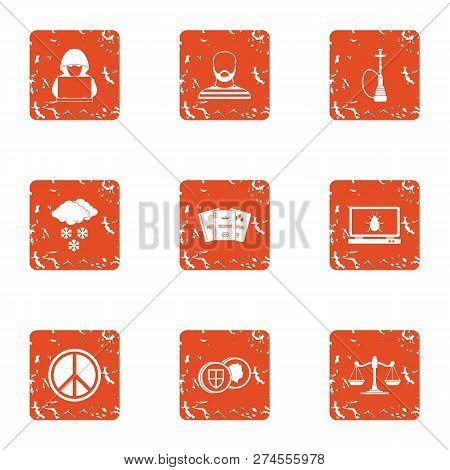 Slackness Icons Set. Grunge Set Of 9 Slackness Icons For Web Isolated On White Background