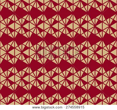 Vector Geometric Triangles Pattern. Elegant Burgundy And Gold Colored Seamless Texture. Abstract Orn