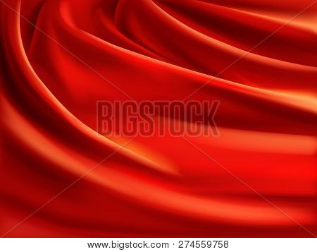 Wavy Red Satin, Soft Silk Fabric With Folds 3d Realistic Vector Illustration. Luxury Atlas Or Satin