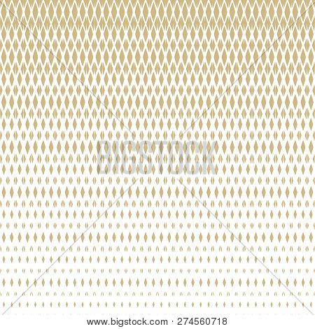 Vector Golden Halftone Seamless Pattern With Diamonds, Rhombuses, Grid, Mesh, Lattice, Net. Vertical