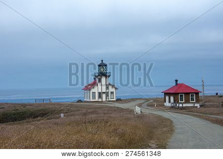 Point Cabrillo Light House Near Fort Bragg California, On The Pacific Ocean. Road Leading Lines Into